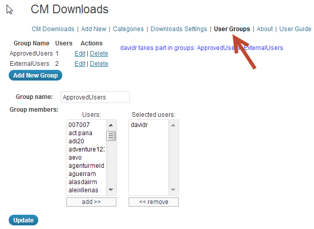 how to manage and setup user group permissions are shown in this screenshot of the CM download manager in action