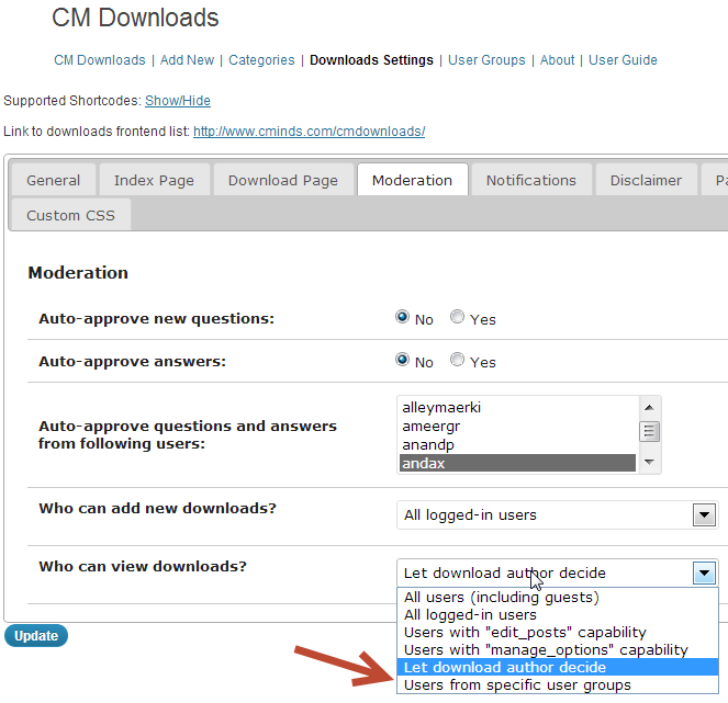 the cm downloads manager access control uses wordpress user tables to create groups of users that have permission to access files that you control and moderate.
