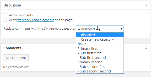 Settings for replacing WP comments with a Q&A forum for each page or post