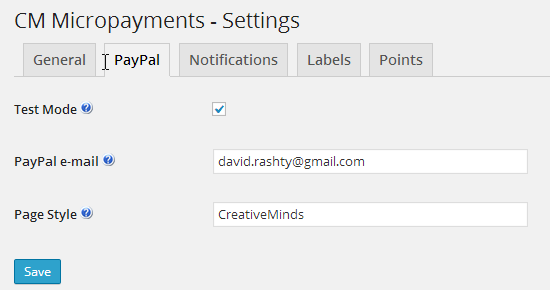 In the control panel there are settings for the testing-mode of micro-payments.