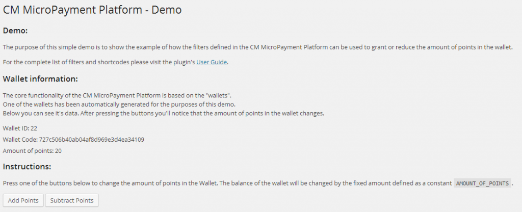 The CM MicroPayment Platform demo page