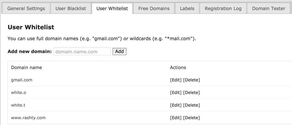 Email Registration Blacklist User Whitelist