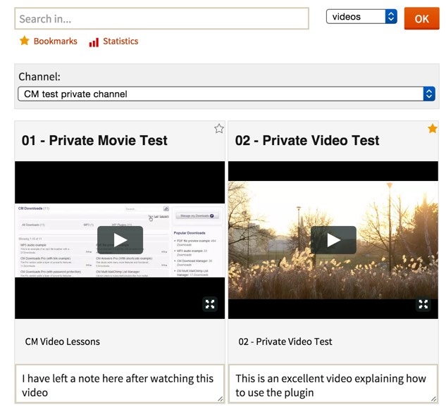 Video Lessons webinar management Plugin for WordPress frontend example