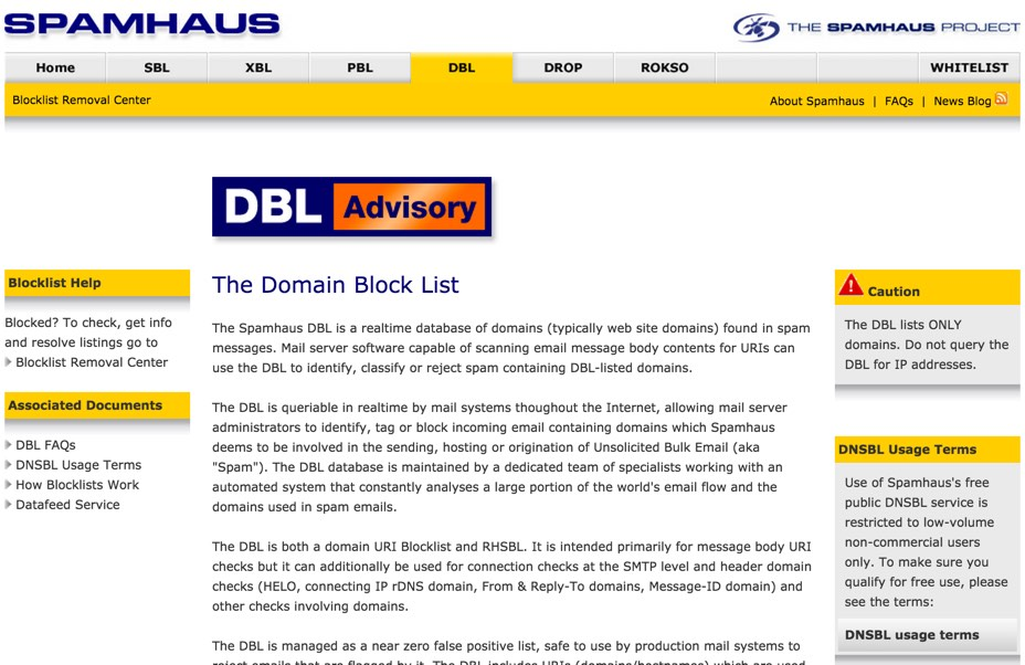 SpamHaus HomePage- list of email spam domain