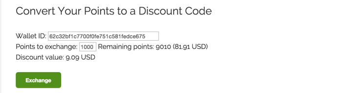 Converting MicroPayment points into EDD discount code
