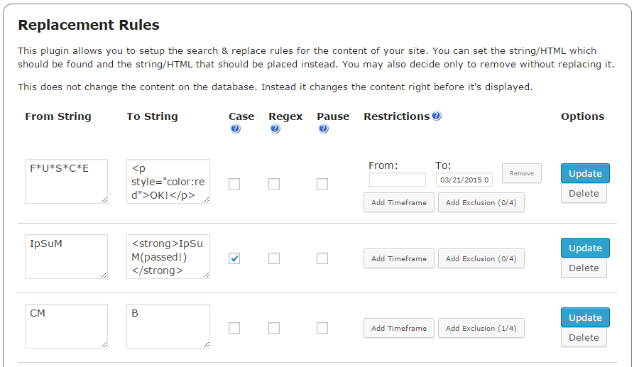 CM Search & Replace plugin replacement rules
