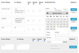 Search and Replace using timeframe restriction